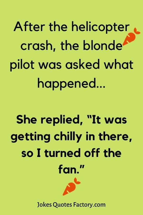 """After the helicopter crash, the blonde pilot was asked what happened... She replied, """"It was getting chilly in there, so I turned off the fan."""" - airplane jokes"""