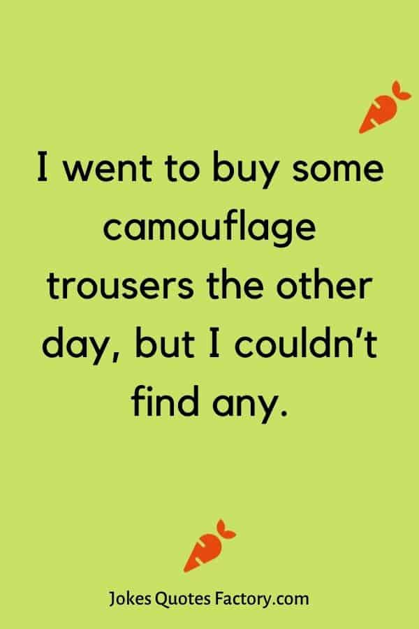I went to buy some camouflage trousers the other day, but I couldn't find any