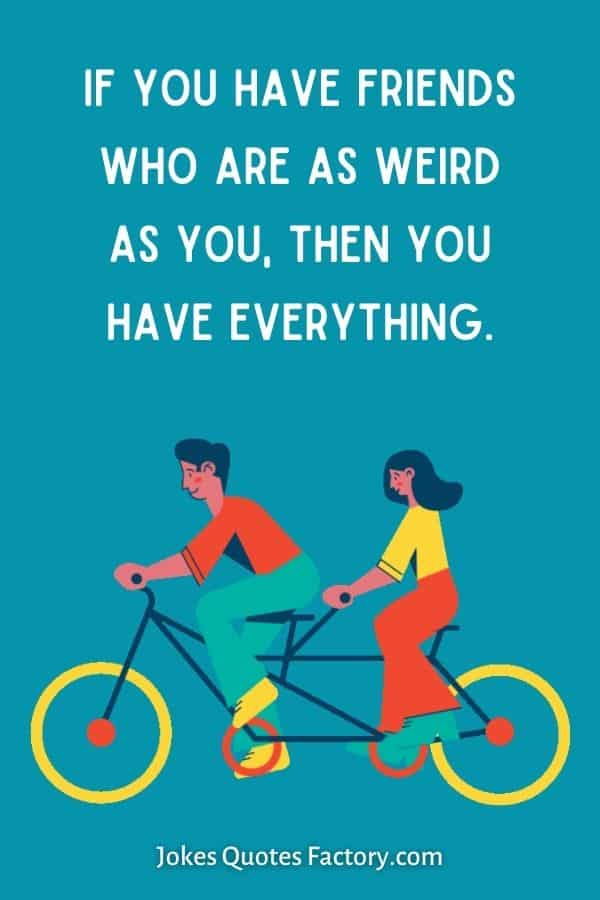 If you have friends who are as weird as you, then you have everything.
