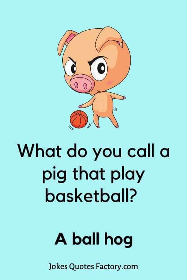 What do you call a pig that play basketball? A ball hog