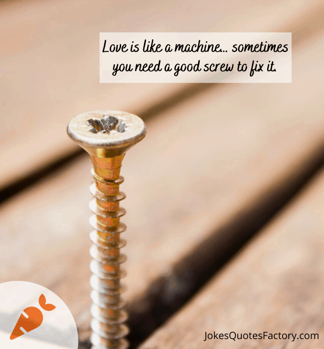 Love is like a machine… sometimes you need a good screw to fix it
