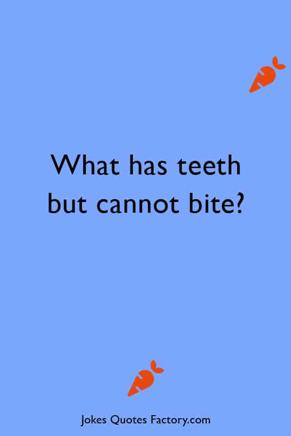 What has teeth but cannot bite - hard riddles