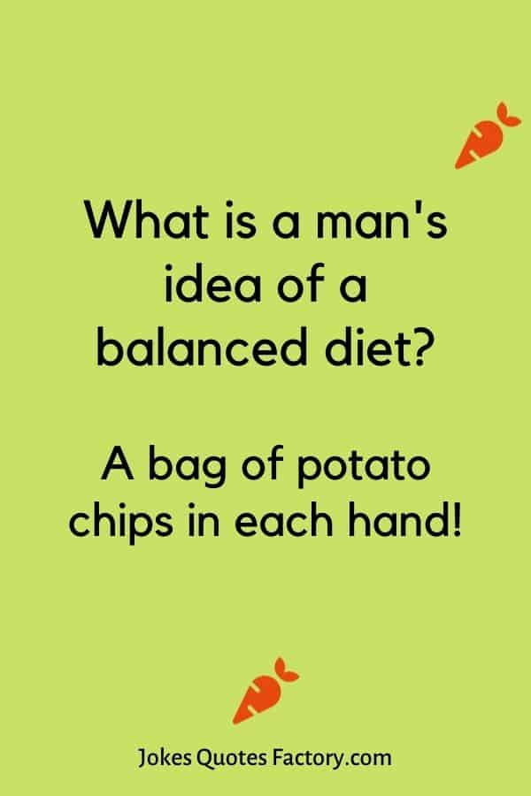 What is a man's idea of a balanced diet