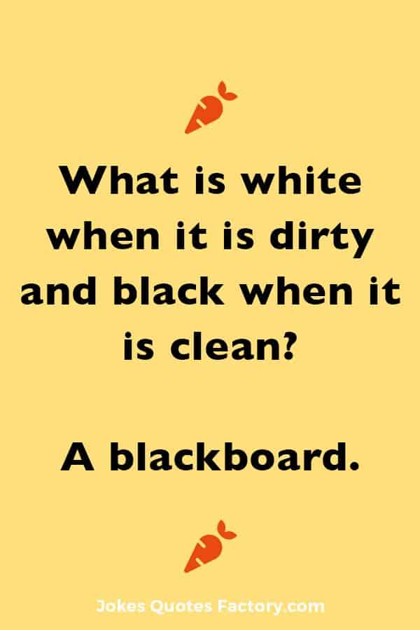 What is white when it is dirty and black when it is clean? A blackboard.