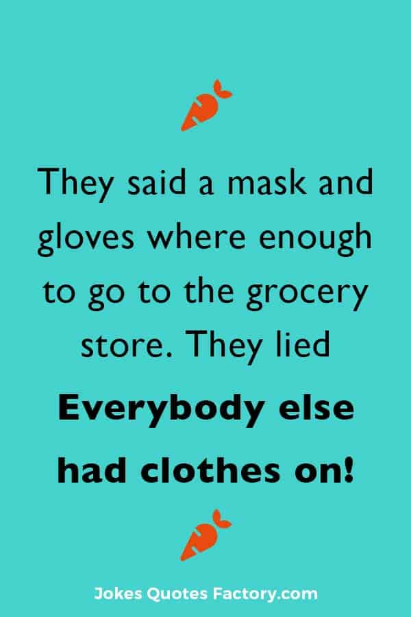 They said a mask and gloves where enough to go to the grocery store. They lied, everybody else had clothes on.