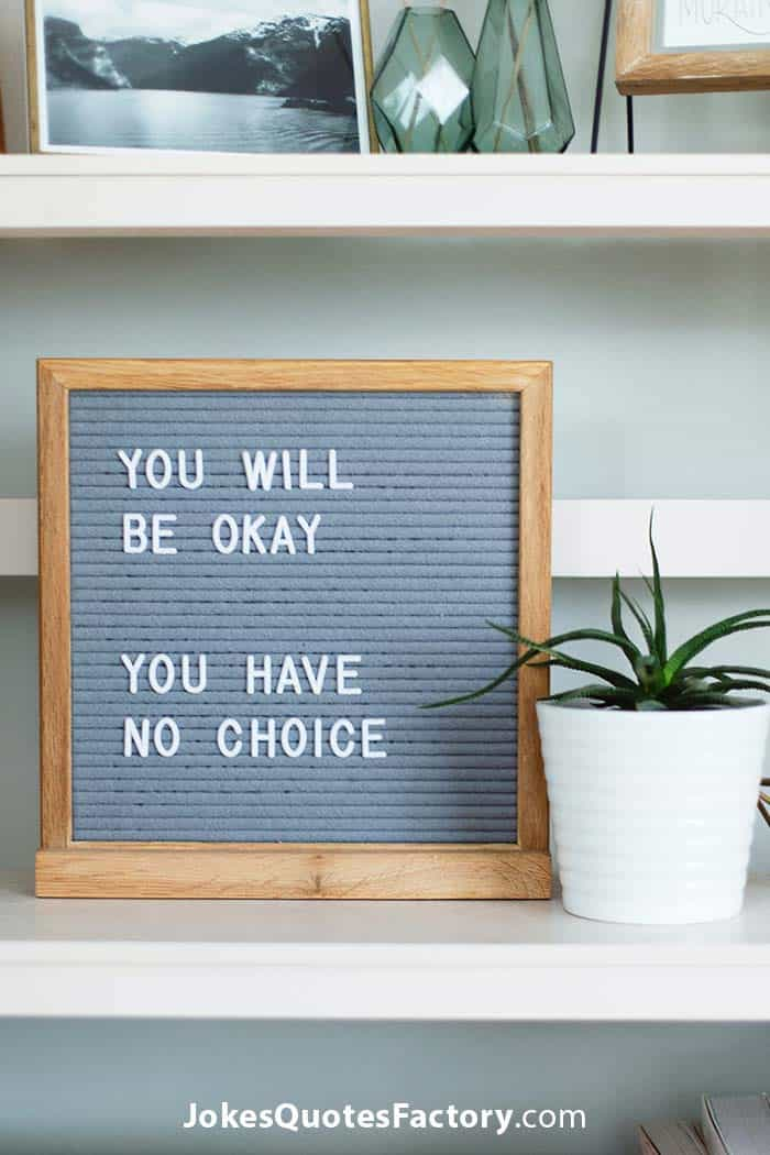 You will be okay...you have no choice!